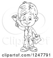Clipart Of A Black And White School Boy Holding A Bell Royalty Free Vector Illustration