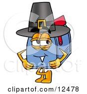 Poster, Art Print Of Blue Postal Mailbox Cartoon Character Wearing A Pilgrim Hat On Thanksgiving