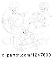 Clipart Of Black And White Boys Skateboarding Royalty Free Vector Illustration