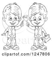 Clipart Of Black And White School Boys Holding Chalk And A Bell Royalty Free Vector Illustration