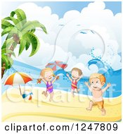 Clipart Of A Energetic Children Playing On A Tropical Beach Royalty Free Vector Illustration