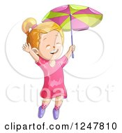 Clipart Of A Happy Girl Jumping With An Umbrella Royalty Free Vector Illustration by merlinul