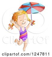 Clipart Of A Happy Girl Jumping In A Swimsuit And Holding An Umbrella Royalty Free Vector Illustration by merlinul