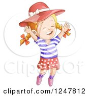 Clipart Of A Happy Girl Jumping In A Hat Royalty Free Vector Illustration