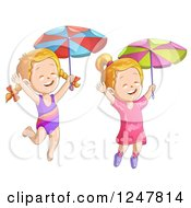 Clipart Of Happy Girls Jumping With Umbrellas Royalty Free Vector Illustration by merlinul