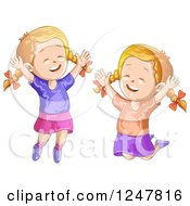 Clipart Of Happy Girls Jumping Royalty Free Vector Illustration