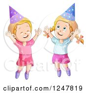 Clipart Of Happy Girls Jumping In Party Hats Royalty Free Vector Illustration by merlinul