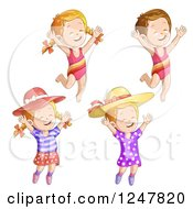 Clipart Of Girls Jumping Royalty Free Vector Illustration