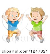 Clipart Of Happy Boys Jumping Royalty Free Vector Illustration