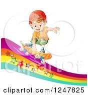 Boy Skateboarding On A Rainbow Wave
