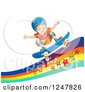 Clipart Of A Boy Skateboarding On A Rainbow Wave Royalty Free Vector Illustration by merlinul