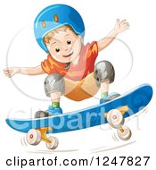 Clipart Of A Boy Skateboarding In A Blue Helmet Royalty Free Vector Illustration by merlinul