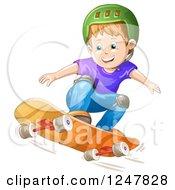 Clipart Of A Boy Skateboarding In A Green Helmet Royalty Free Vector Illustration