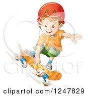 Boy Skateboarding In A Red Helmet