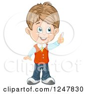 Clipart Of A School Boy Holding Up Chalk Royalty Free Vector Illustration