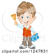 Clipart Of A School Boy Holding Up A Bell Royalty Free Vector Illustration