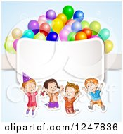 Clipart Of Excited Children Jumping With Party Balloons Over A Ribbon Royalty Free Vector Illustration