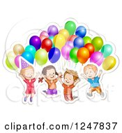 Clipart Of Excited Children Jumping With Party Balloons Royalty Free Vector Illustration