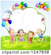 Clipart Of Excited Children Jumping With Party Balloons Over A Cloud Frame Royalty Free Vector Illustration