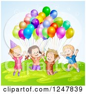 Clipart Of Excited Children Jumping With Party Balloons Over Hills Royalty Free Vector Illustration