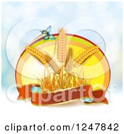Clipart Of A Butterfly And Wheat With A Ribbon Banner Over Flares Royalty Free Vector Illustration by merlinul