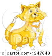 Clipart Of A Ginger Cat In A Number One Collar Royalty Free Vector Illustration