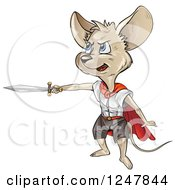 Clipart Of A Super Mouse Holding Out A Sword Royalty Free Vector Illustration