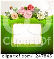 Green Wedding Floral Background With Roses And A Frame
