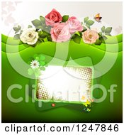 Green Wedding Floral Background With Roses And A Tilted Frame