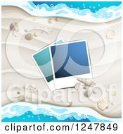 Clipart Of A White Sandy Beach Pictures Shells And Surf Background Royalty Free Vector Illustration