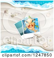 Clipart Of A White Sandy Beach Pictures And Surf Background Royalty Free Vector Illustration
