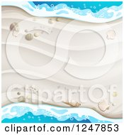 Clipart Of A White Sandy Beach And Surf Background Royalty Free Vector Illustration