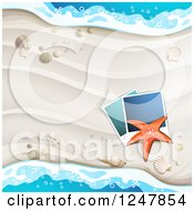 Clipart Of A White Sandy Beach Pictures Starfish And Surf Background Royalty Free Vector Illustration