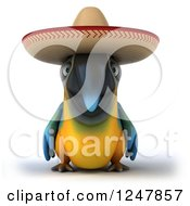 Clipart Of A 3d Blue And Yellow Mexican Macaw Parrot Royalty Free Illustration