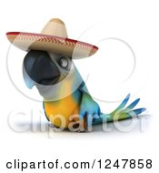 Clipart Of A 3d Blue And Yellow Mexican Macaw Parrot Facing Left Royalty Free Illustration