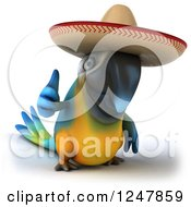 Clipart Of A 3d Blue And Yellow Mexican Macaw Parrot Holding A Thumb Up Royalty Free Illustration