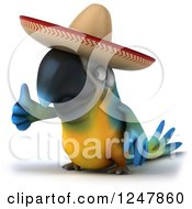 Clipart Of A 3d Blue And Yellow Mexican Macaw Parrot Holding A Thumb Up 2 Royalty Free Illustration