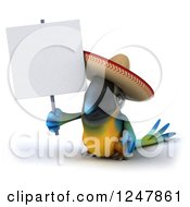 Clipart Of A 3d Blue And Yellow Mexican Macaw Parrot Holding A Blank Sign Royalty Free Illustration