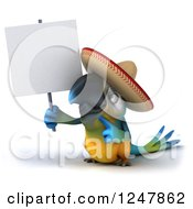 Clipart Of A 3d Blue And Yellow Mexican Macaw Parrot Holding A Blank Sign 2 Royalty Free Illustration