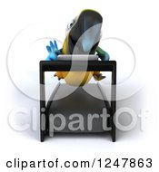 Clipart Of A 3d Blue And Yellow Macaw Parrot Running On A Treadmill Royalty Free Illustration