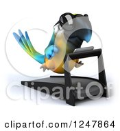 Clipart Of A 3d Blue And Yellow Macaw Parrot Wearing Sunglasses And Running On A Treadmill Royalty Free Illustration