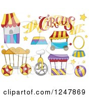 Clipart Of Circus Booths And Items Royalty Free Vector Illustration by BNP Design Studio