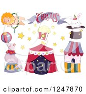 Clipart Of A Circus Banner Tent And Animals Royalty Free Vector Illustration by BNP Design Studio