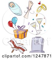 Clipart Of Doodled Life Event Icons Royalty Free Vector Illustration