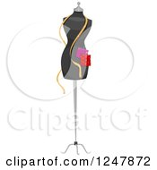 Clipart Of A Designer Mannequin With Fabrichs And A Tape Measure Royalty Free Vector Illustration