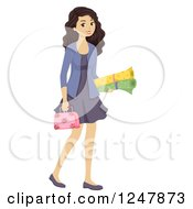 Clipart Of A Teenage Girl Carrying Sewing Materials Royalty Free Vector Illustration