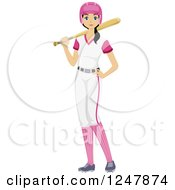 Clipart Of A Softball Teenage Girl In Her Uniform Royalty Free Vector Illustration