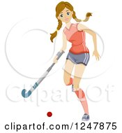 Clipart Of A Teen Girl Playing Field Hocky Royalty Free Vector Illustration