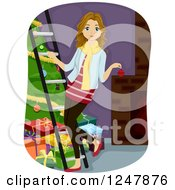 Clipart Of A Teen Girl Decorating A Christmas Tree Royalty Free Vector Illustration