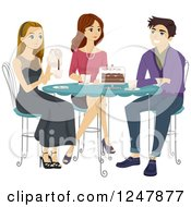 Clipart Of Young Adults Having Cake And Coffee Royalty Free Vector Illustration